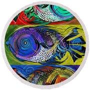The Three Fishes Round Beach Towel