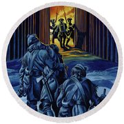 The Three Rangers, Almost Dead, Staggered Into Fort William Henry To Bring Her To Their Comrades  Round Beach Towel
