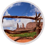 Round Beach Towel featuring the photograph The Three Sisters Framed - Arizona by Dany Lison