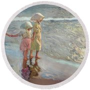 The Three Sisters On The Beach Round Beach Towel