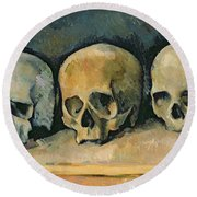The Three Skulls Round Beach Towel