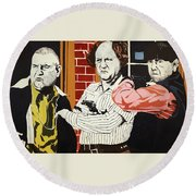 The Three Stooges Round Beach Towel