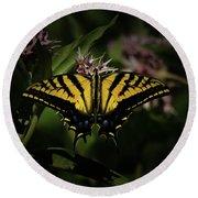 The Tiger Swallowtail Round Beach Towel by Ernie Echols