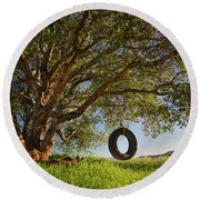 The Tire Swing Round Beach Towel by Endre Balogh