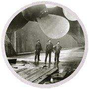 The Titanic's Propellers In The Thompson Graving Dock In Belfast Round Beach Towel