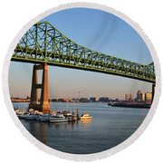The Tobin Bridge Into The Sunset Chelsea Yacht Club Round Beach Towel