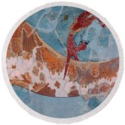 The Toreador Fresco, Knossos Palace, Crete Round Beach Towel