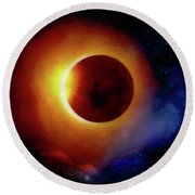 The Total Eclipse Round Beach Towel