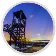 The Tower And The Stars Round Beach Towel