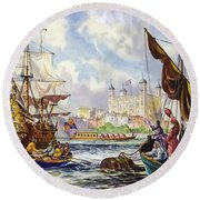 The Tower Of London In The Late 17th Century  Round Beach Towel by English School