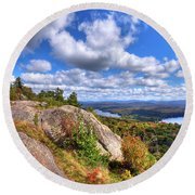 The Tower On Bald Mountain Round Beach Towel