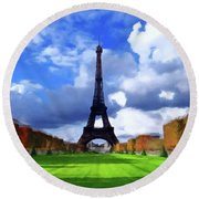 Round Beach Towel featuring the painting The Tower Paris by David Dehner