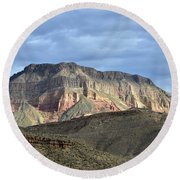 The Towering Walls Of Virgin River Canyon Round Beach Towel