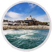 The Towers Of Narragansett  Round Beach Towel