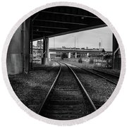 The Tracks And The Overpass Round Beach Towel