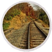 Round Beach Towel featuring the photograph The Tracks In The Fall by Mark Dodd