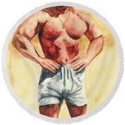 Round Beach Towel featuring the painting The Trainer by Vicki  Housel