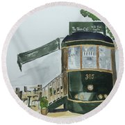 Round Beach Towel featuring the painting The Tram Cafe by Eva Ason