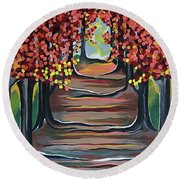 The Tranquility Of Nature Round Beach Towel