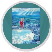 The Transcending Spartan Soldier Round Beach Towel