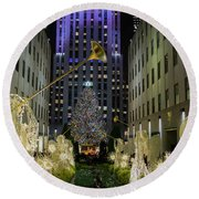 The Tree At Rockefeller Plaza Round Beach Towel