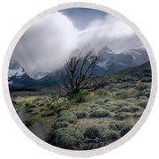 The Tree In The Wind Round Beach Towel by Andrew Matwijec