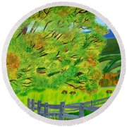 Round Beach Towel featuring the painting The Tree Of Joy by Magdalena Frohnsdorff