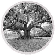 The Tree Of Life Monochrome Round Beach Towel