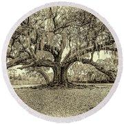 The Tree Of Life Sepia Round Beach Towel