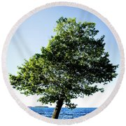 Round Beach Towel featuring the photograph The Tree by Onyonet  Photo Studios