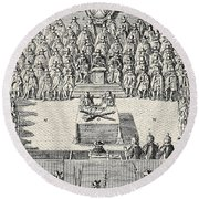 The Trial Of Charles I Round Beach Towel
