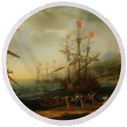 Round Beach Towel featuring the painting The Trojan Women Setting Fire To The Fleet by Claude Lorrain