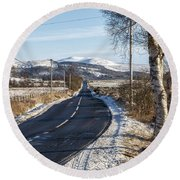 The Trossachs National Park In Scotland Round Beach Towel
