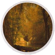 Round Beach Towel featuring the photograph The Trout Pool by John Stephens