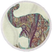 The Trumpet - Elephant Kashmir Patterned Boho Tribal Round Beach Towel by Audrey Jeanne Roberts