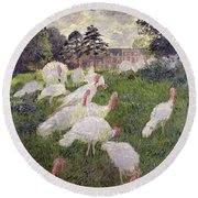The Turkeys At The Chateau De Rottembourg Round Beach Towel by Claude Monet