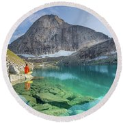 The Turquoise Lake Round Beach Towel