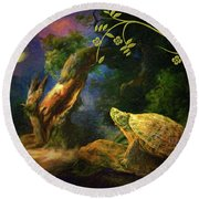 The Turtle Of The Moon Round Beach Towel