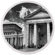 The Tuscan Colonnades In The Vatican Round Beach Towel