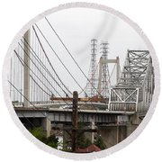 The Two Carquinez Bridges At Crockett And Vallejo California . Aka Alfred Zampa Memorial Bridge . 7d8919 Round Beach Towel