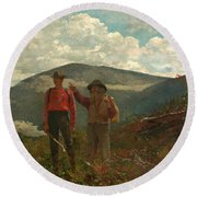 Round Beach Towel featuring the painting The Two Guides by Winslow Homer
