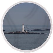 The Two Harbor Lighthouses Round Beach Towel by Brian MacLean