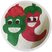 The Two Hot Peppers  Round Beach Towel