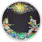 Round Beach Towel featuring the painting The Two Samurais by Fabrizio Cassetta