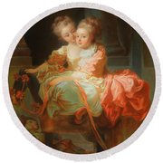 Round Beach Towel featuring the painting The Two Sisters                                   by Jean Claude Richard
