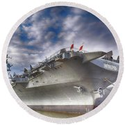 The U S S Intrepid  Round Beach Towel