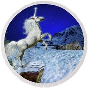Round Beach Towel featuring the digital art The Ultimate Return Of Unicorn  by William Lee