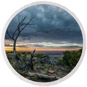 Round Beach Towel featuring the photograph The Unfolding Drama by Margaret Pitcher