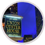 Round Beach Towel featuring the photograph The Union Oyster House - Boston by Joann Vitali
