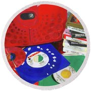 Round Beach Towel featuring the painting The Universal Language by Lynne Reichhart